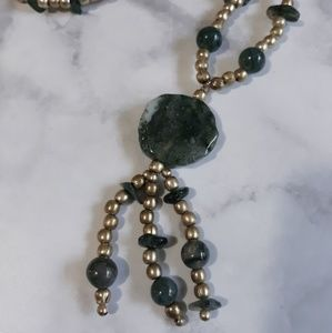 Handmade natural stone long necklace